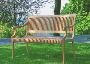 garden bench curve arm seater teak outdoor furniture