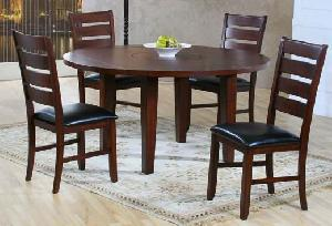 dining leather seat chair round table elegance teak mahogany indoor furniture