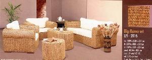 living room flat water hyacinth sofa arm chair coffee table