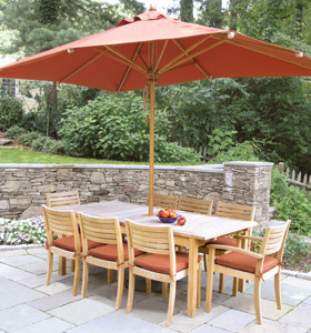 orange umbrella outdoor dining chair rectangular extension table teak garden furniture