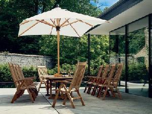 outdoor restaurant reclining five position chair extension table umbrella teak garden