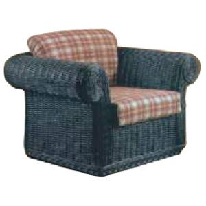 rattan arm chair blue cushion woven furniture
