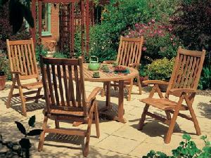 round table dorset five position chair teak garden furniture
