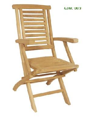 savana folding chair with arm rest horisontal slats teak garden