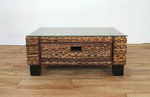 Woven Coffee Table Glass Banana Leaf Abaca Furniture
