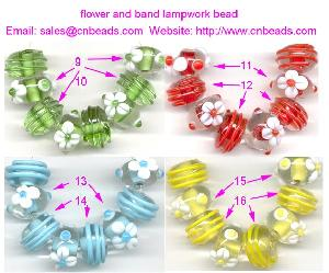 flower band lampwork glass beads