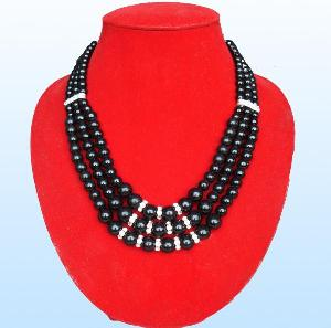 glass pearl necklace rhinestones