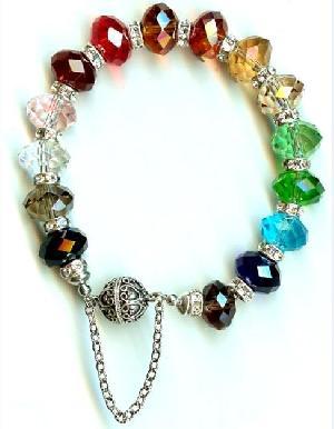 wholesale cut crystal glass rondelle bracelet