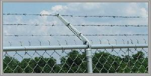 3 rows barbed wire chain link mesh fence