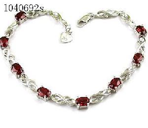 factory sterling silver garnet bracelet fashion cz jewelry smoky quartz pendant ring
