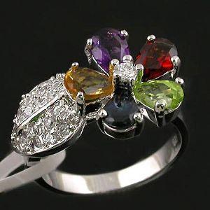 sterling silver mix gem ring jewlery fashion cz earring gemstone jewelry