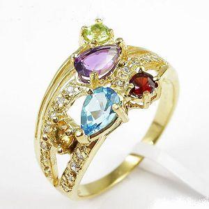 sterling silver mix gem ring smoky quartz earring pendant prehnite bracelet blue topaz