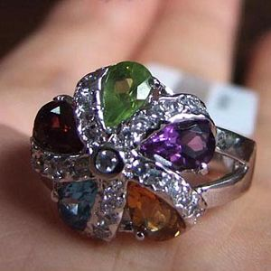 sterling silver mix gem ring smoky quartz pendant prehnite garnet earring