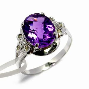 Sell Sterling Silver Natural Amethyst Ring, Jadeite Pendant, Rainbow Stone Ring, Cz Jewelry