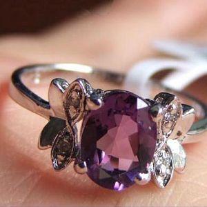 sterling silver amethyst ring pendant prehnite smoky quartz earring garnet pen