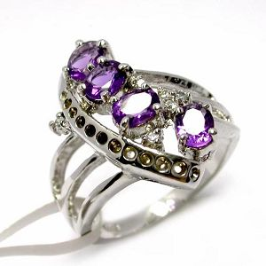 sterling silver amethyst ring smoky quartz pendant prehnite earring bracelet