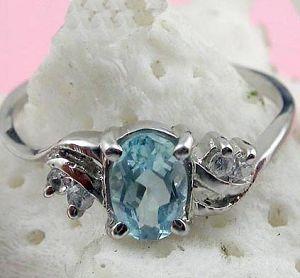 sterling silver blue topaz ring moonstone prehnite earrring pendant gemstone jewel