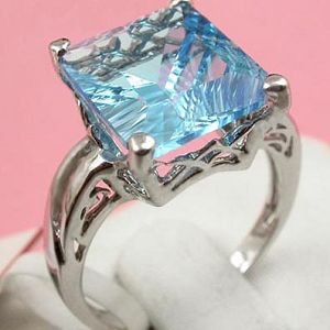sterling silver blue topaz ring pendant amethyst earring rainbow stone jewelry