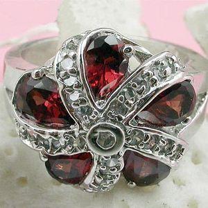 sterling silver garnet ring smoky quartz sapphire earring prehnite pendant