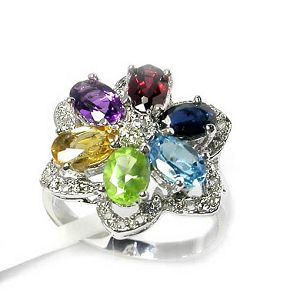 sterling silver mix gem ring earring jewlery citrine pendant fashion cz jewe