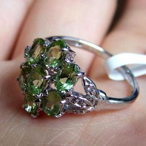 sterling silver olivine ring fashion cz gemstone jewelry jewlery