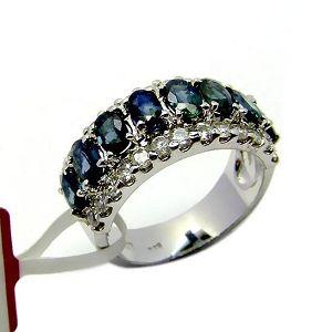 sterling silver sapphire ring smoky quartz earring pendant prehnite