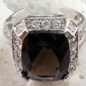 sterling silver smoky quartz ring gemstone jewelry stup earring earr
