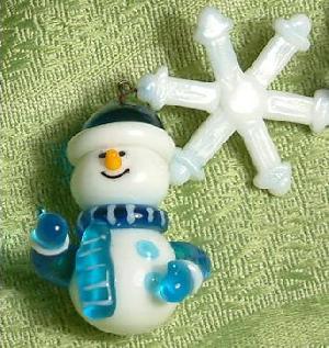 glass snowman charm
