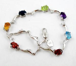 sterling silver mix gem bracelet jewelry olivine ring citrine earri