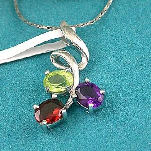 sterling silver mix gem pendant amethyst garnet earring citrine bracelet ruby ring