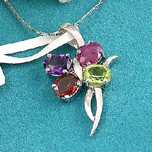 sterling silver mix gem pendant sapphire beacelet citrine tourmaline amethyst ring