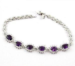 sterling silver amethyst bracelet garnet pendant tourmaline earring ring