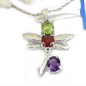sterling silver amethyst garnet olivine pendnat citrine necklace beacelet