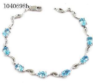 sterling silver blue topaz beacelet garnet amethyst pendant tourmaline earring rin