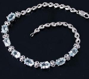 sterling silver blue topaz bracelet amethyst tourmaline earring fashion jewe
