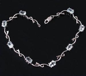 sterling silver blue topaz bracelet jewelry gemstone fashion cz penda