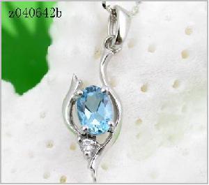 sterling silver blue topaz pendant amethyst tourmaline earring ri