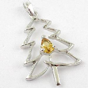 sterling silver citrine christmas tree pendant blue topaz ring earring brace