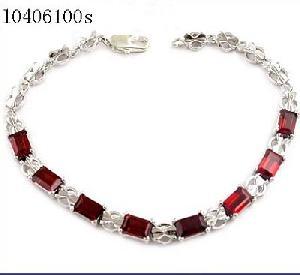 sterling silver garnet bracelet pendant tourmaline earring chalcedony
