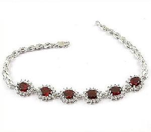 sterling silver garnet bracelet jewelry olivine ring fashion rainbow stone ri