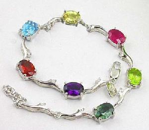 sterling silver mix gem bracelet amethyst earring sapphire necklace ruby beacelet