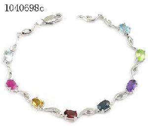 sterling silver mix gem bracelet citrine pendant tourmaline earring olivine ring