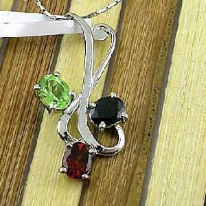 sterling silver mix gem pendant amethyst ring tourmaline earring olivine bracelet