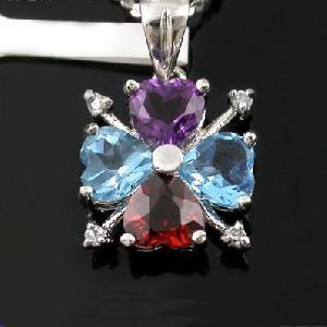 sterling silver mix gem pendant moonstone earring bracelet smoky quartz ring bracel