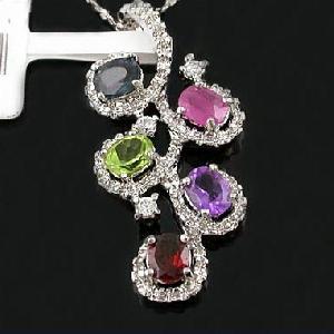sterling silver mix gem pendant olivine earring blue topaz ring garnet