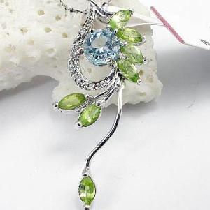 sterling silver olivine pendant topaz ring citrine earring smoky quartz bracelet