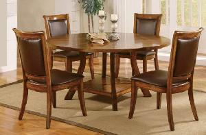 Dining Leather Seat Chair Round Table Elegance Teak Mahogany ...