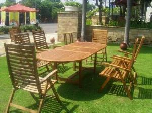 07 kiln dry teak curve reclining oval extenson table garden outdoor furniture