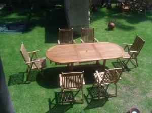 16 klassen oval reclining dorset five position chair extension table teak teka garden
