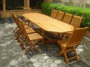 33 octagonal extension table folding monkey chair teak teka outdoor garden furniture